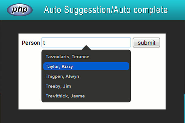 Auto suggestion using  Ajax, jQuery and PHP